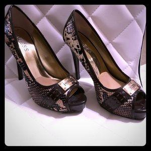 GUESS brown snake embossed platform heel. Size 7.5